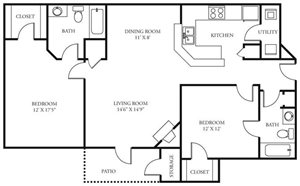 Coursey Place Apartment Homes - 2 Bedroom 2 Bath Apartment
