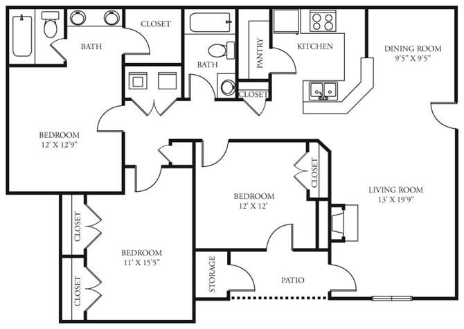 Coursey Place Apartment Homes - 3 Bedroom 2 Bath Apartment