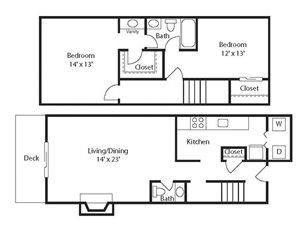 Stone Ridge Apartment Homes - 2 Bedroom 1.5 Bath Apartment