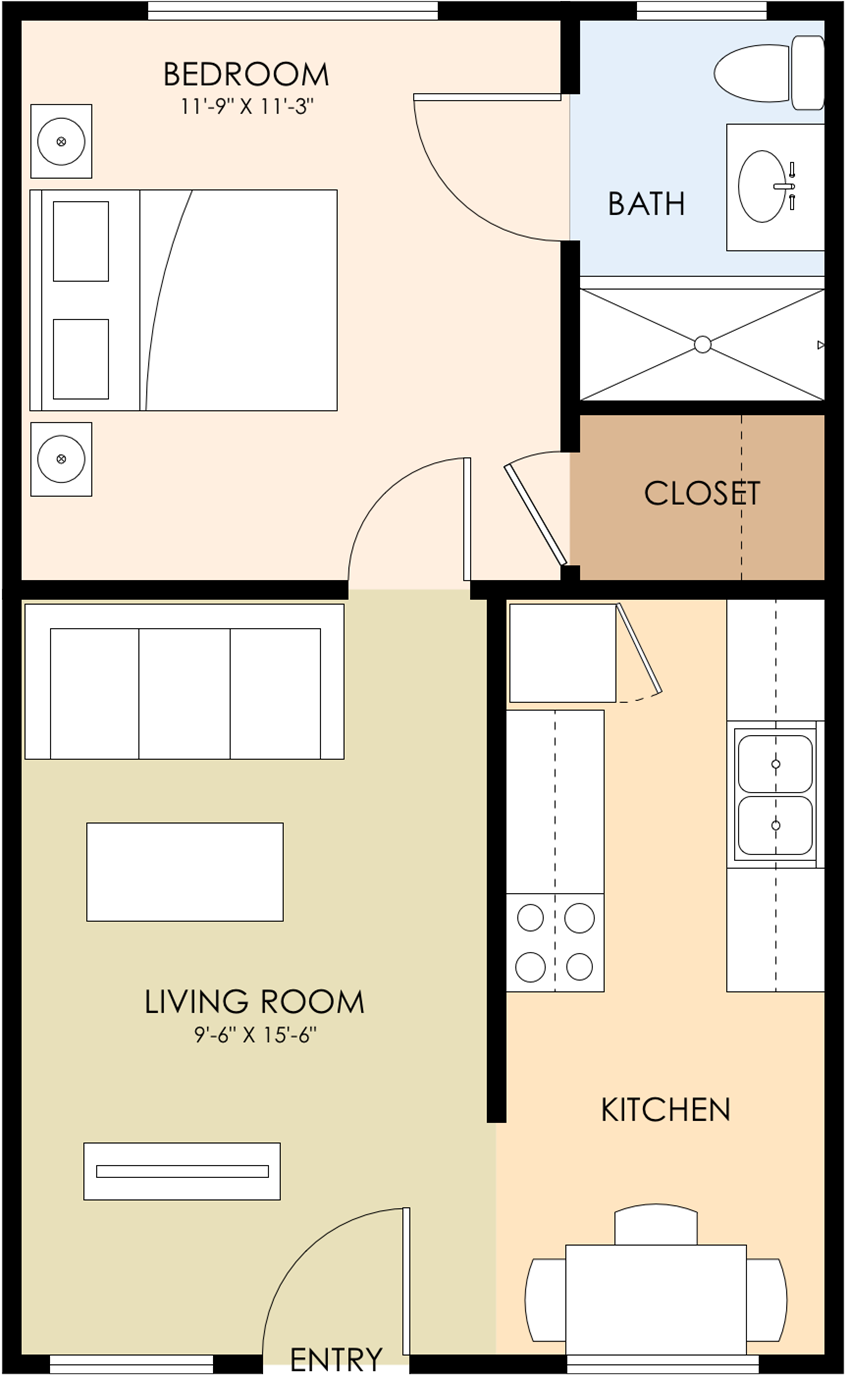 One Bedroom One Bath