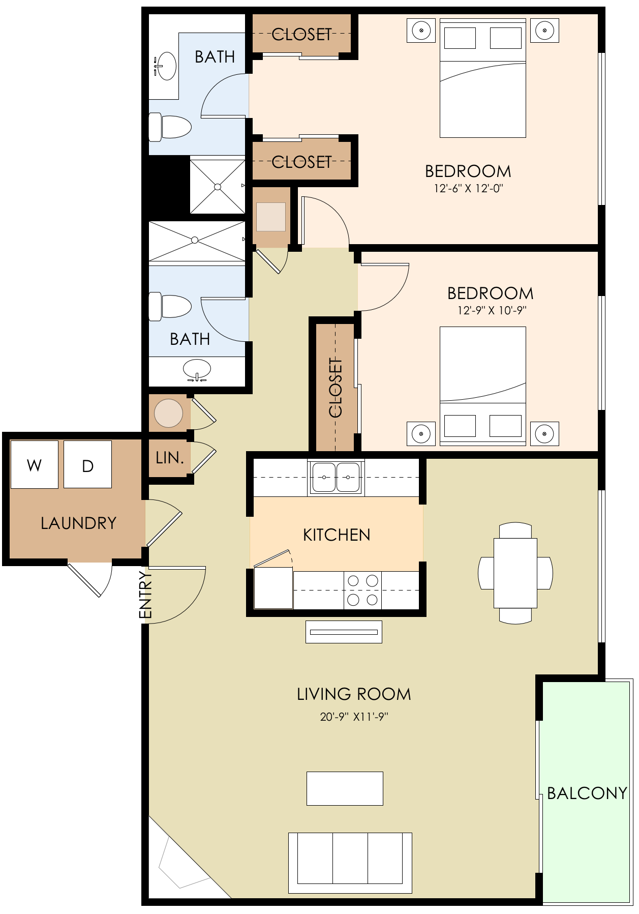 Two Bedroom Two Bath 1101 Sq Ft