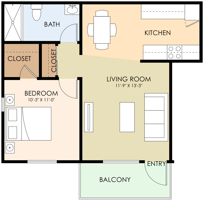1 Bed 1 Bath Floor Plan at Sunnyvale Town Center, Sunnyvale