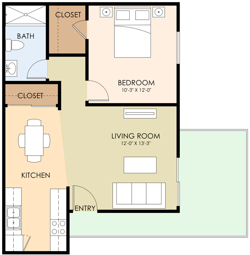 Large One Bedroom One Bath Floor Plan at Sunnyvale Town Center, California, 94086