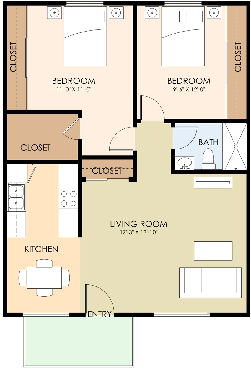 2 Bed 1 Bath Floorplan at Sunnyvale Town Center, Sunnyvale, CA