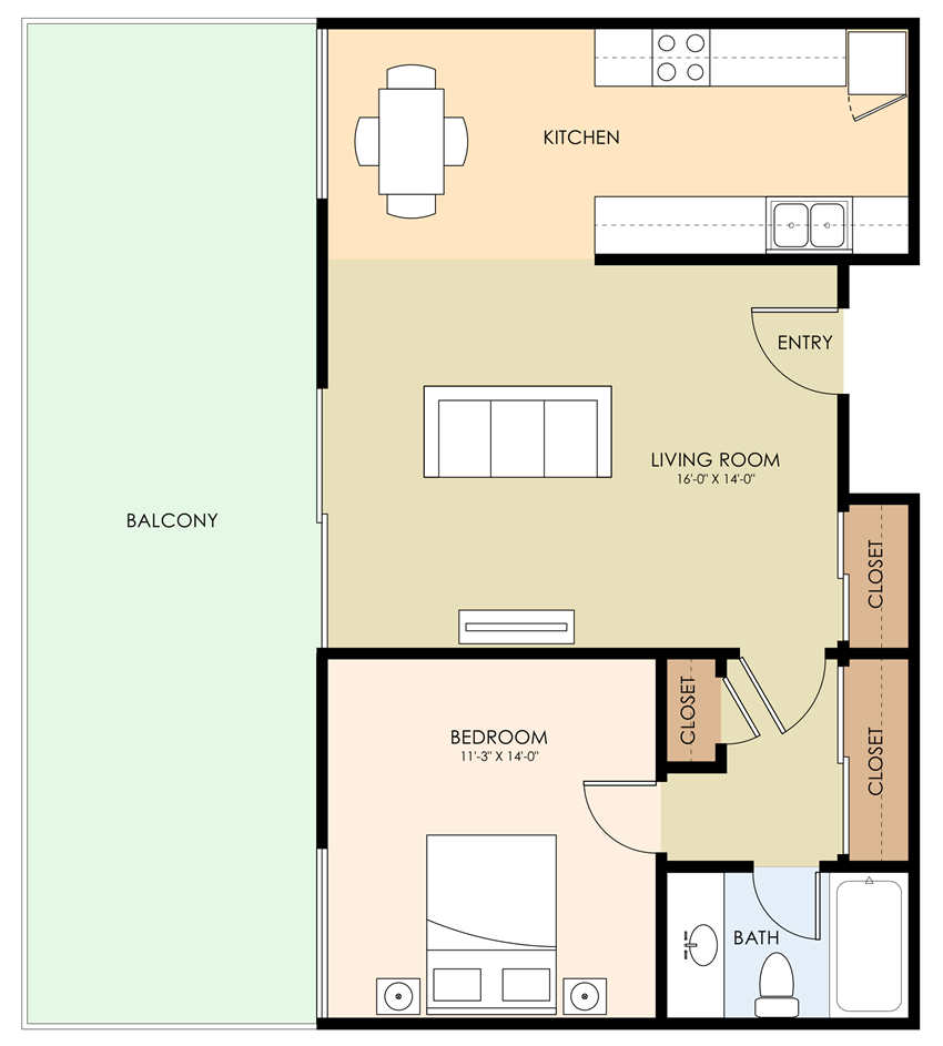 One Bed One Bath Floor Plan at Aviana, California, 94040