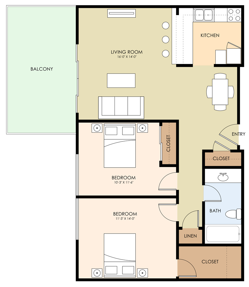 2 Bed 1 Bath Floorplan at Aviana, Mountain View, CA