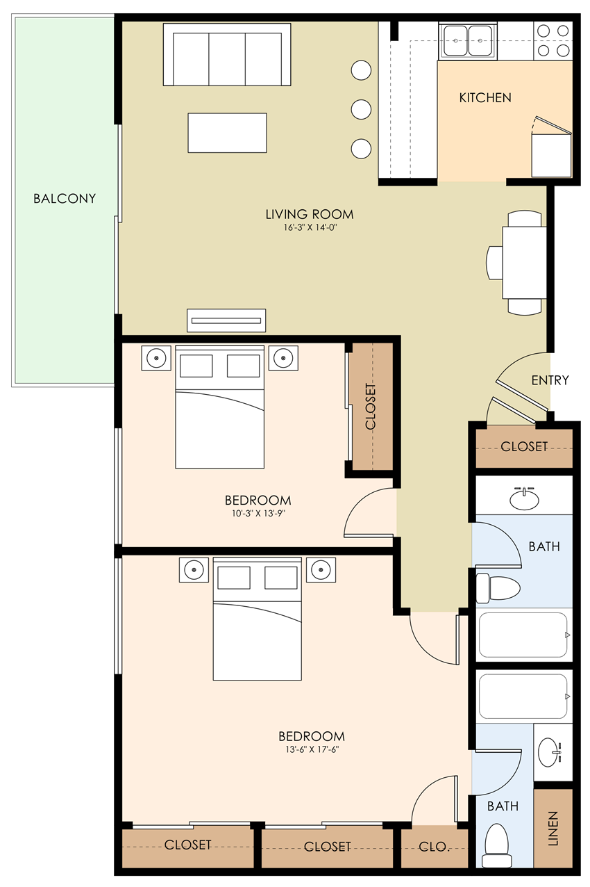 2 Bed 2 Bath Floor Plan at Aviana, Mountain View, 94040