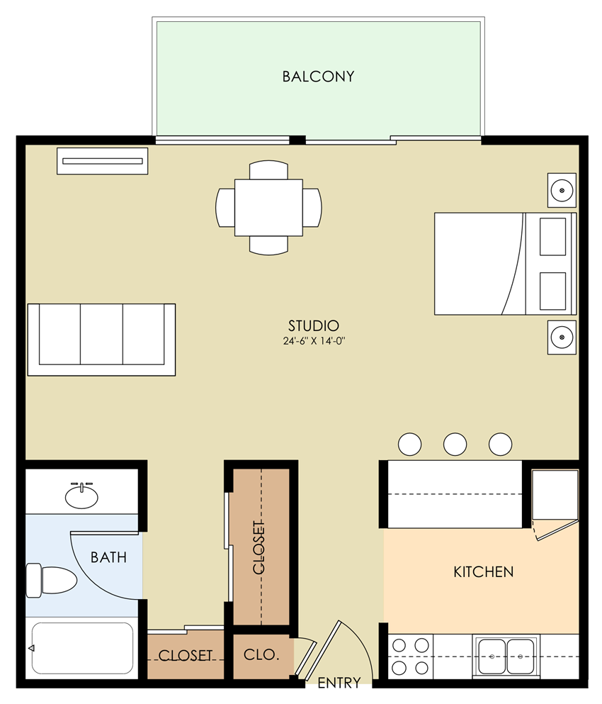 Studio Floor Plan at Aviana, California