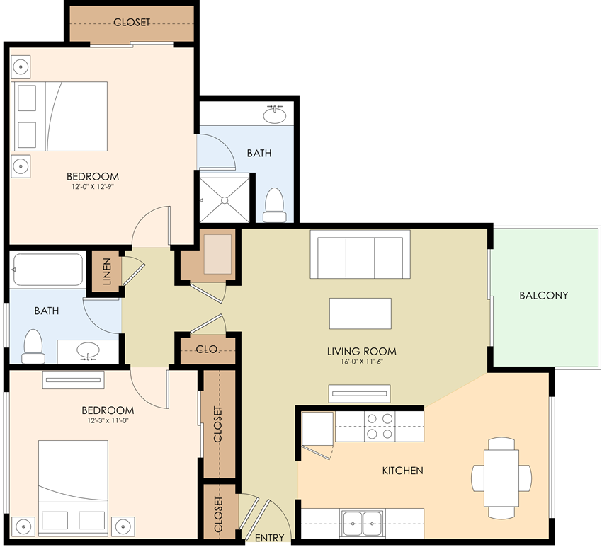Two Bedroom Two Bath Floor Plan at Californian, Mountain View, CA, 94040