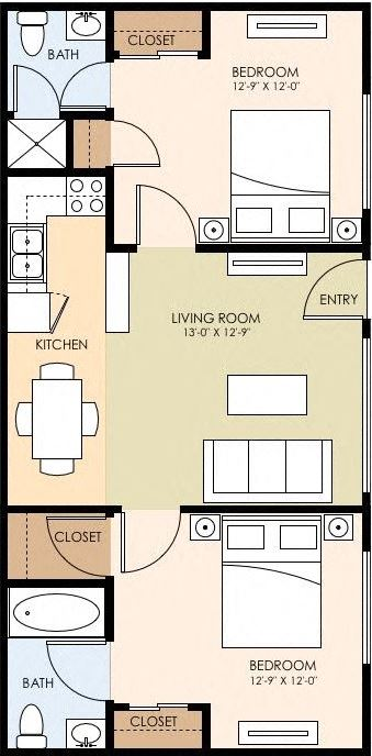 Two Bedroom Two Bath Floor Plan at The Arbors at Mountain View, Mountain View, CA