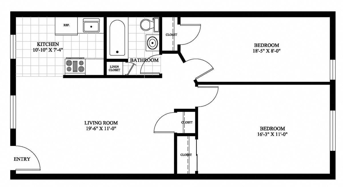 2 BR Private Entry Floor Plan 3