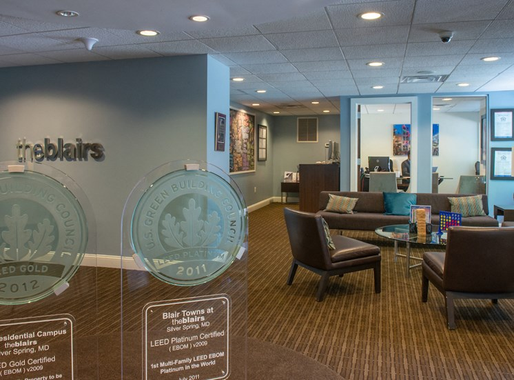 Brightly Decorated Leasing Office at The Blairs, Silver Spring, Maryland
