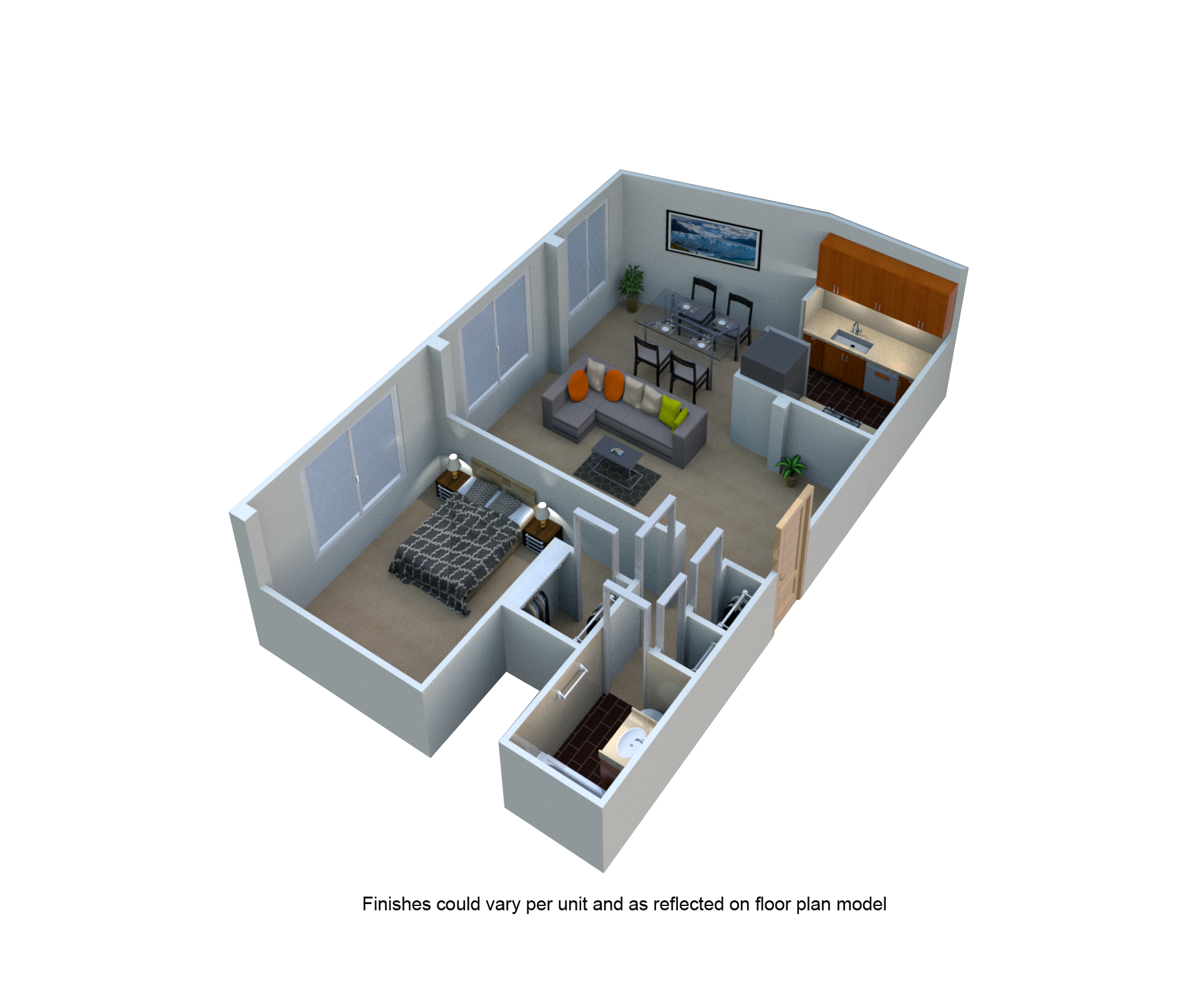 1 Bed 1 Bath One Bedroom Floor Plan at The Blairs, Maryland, 20910