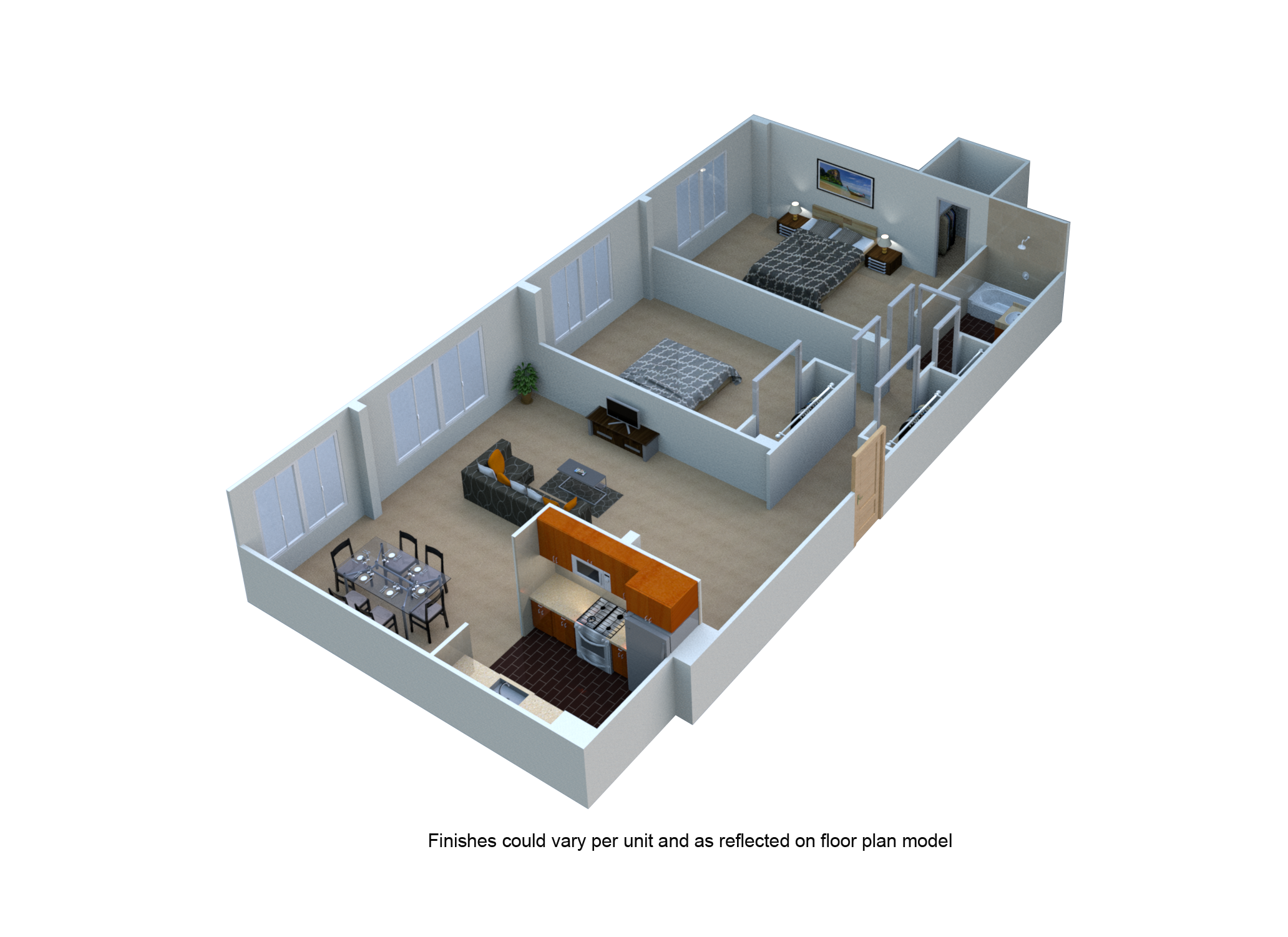 Two Bedroom 1 Bath Floor Plan at The Blairs, Maryland, 20910