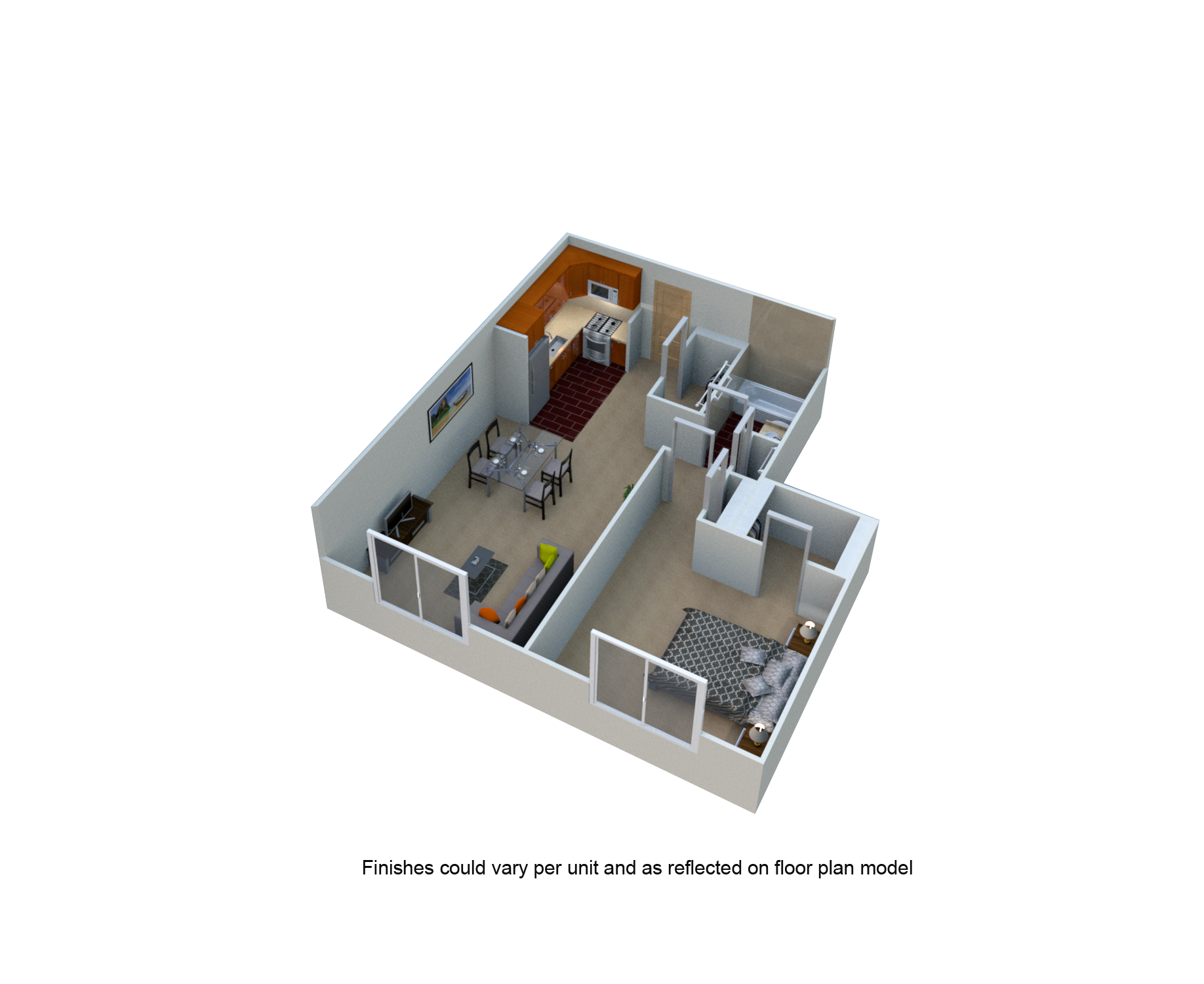 1 Bed 1 bath One Bedroom Eco Floor Plan at The Blairs, Silver Spring