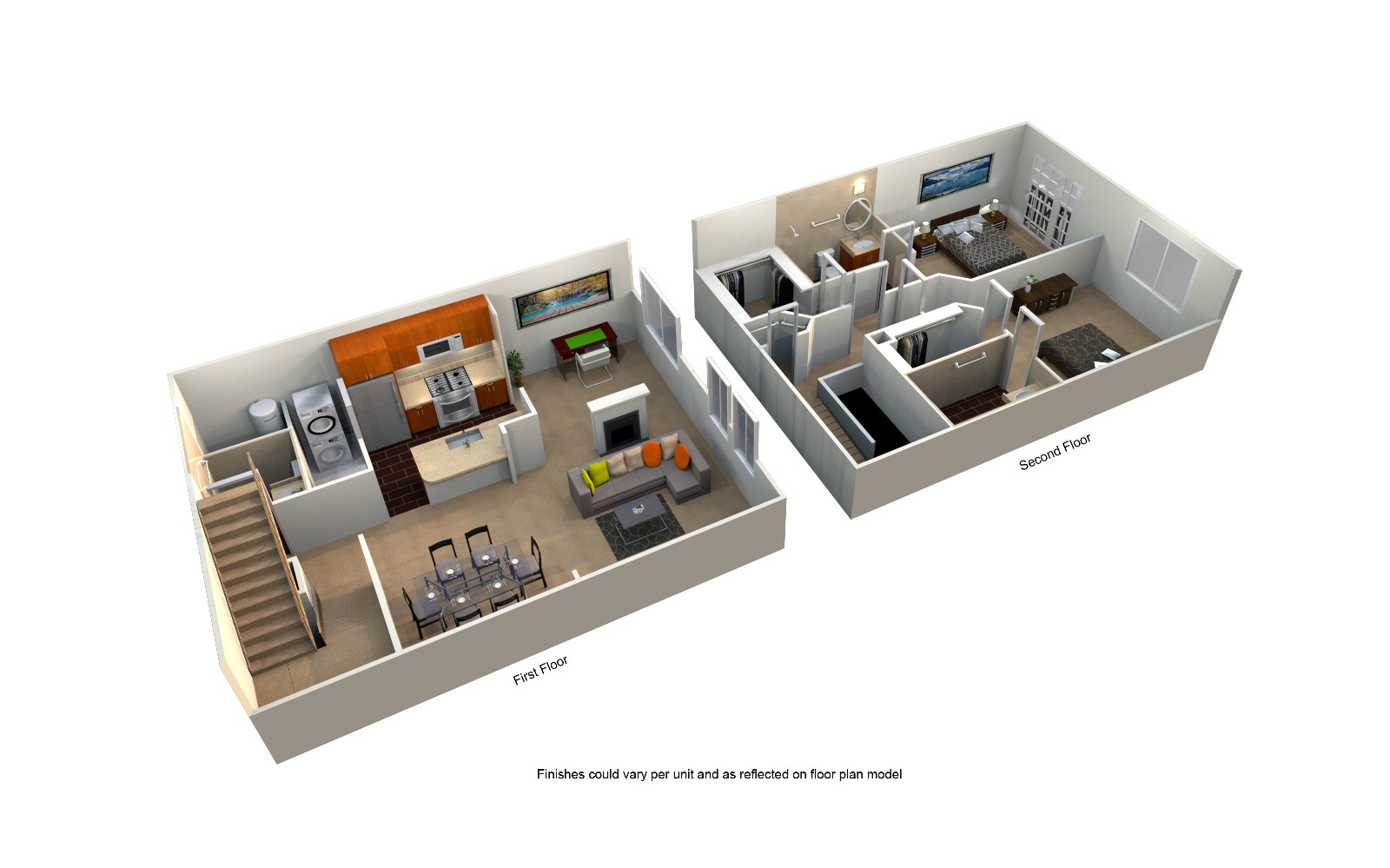 Two Bedroom 2 Bath Floor Plan at The Blairs, Silver Spring