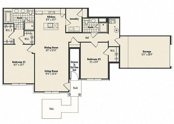 First Floor 2 bed 2 bath Floor Plan 3