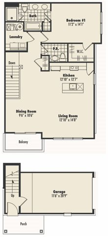 Second Floor 1 Bed 1.5 Bath Floor Plan 1