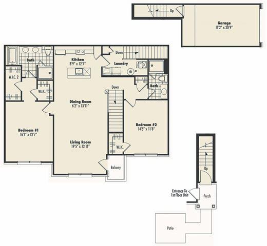 Second Floor 2 Bed 2 Bath