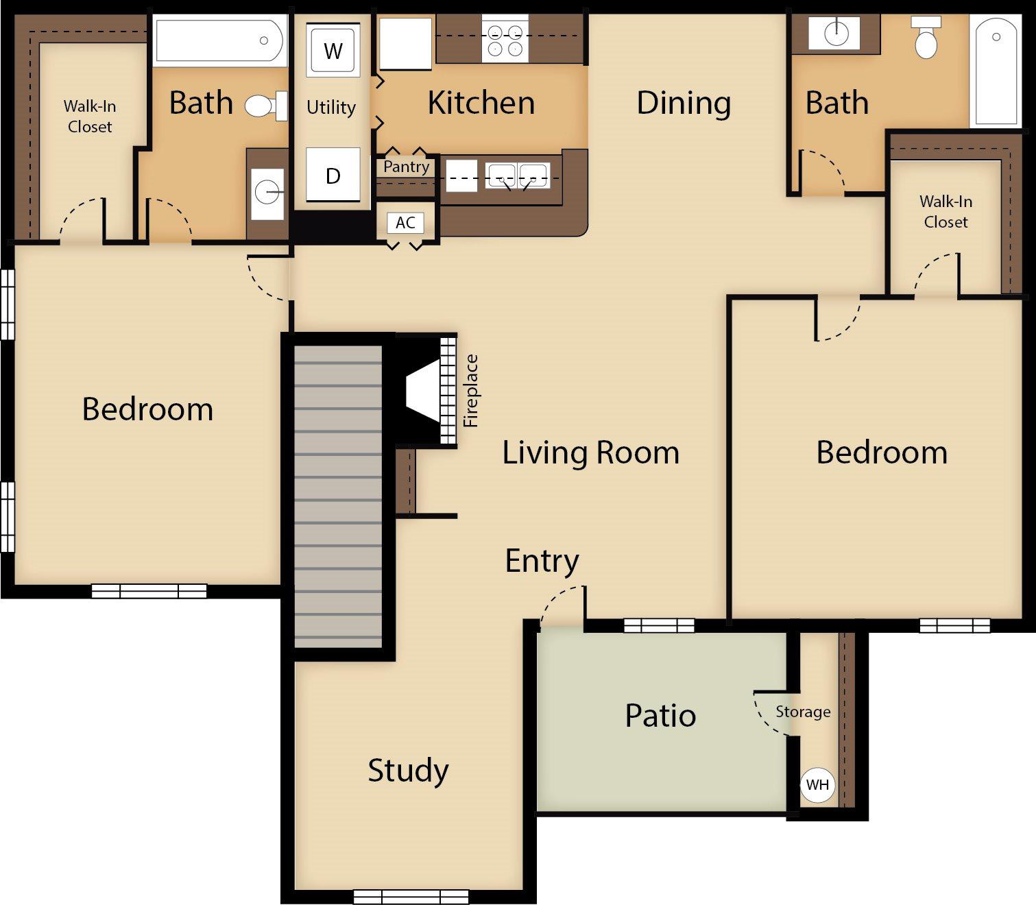 2 Bedroom with Study Floor Plan 4