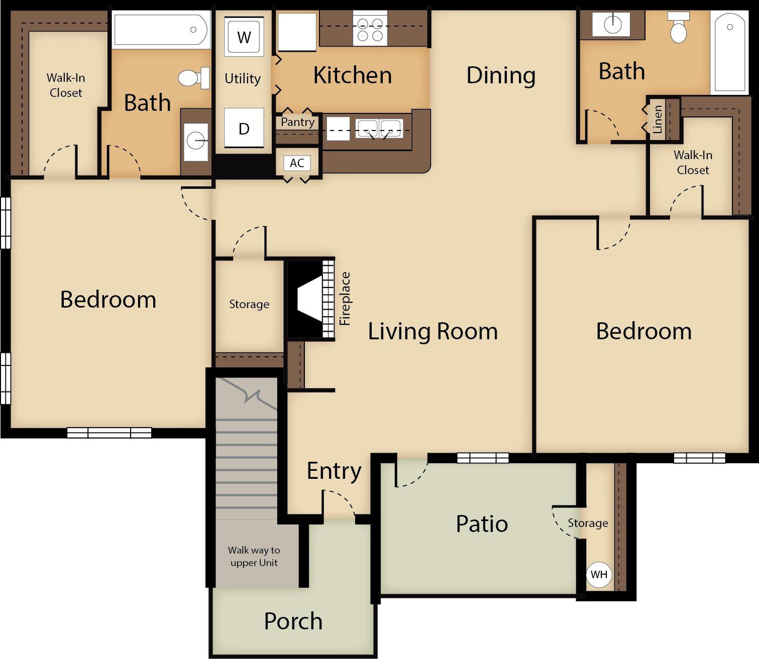 2 Bedroom Floor Plan 3
