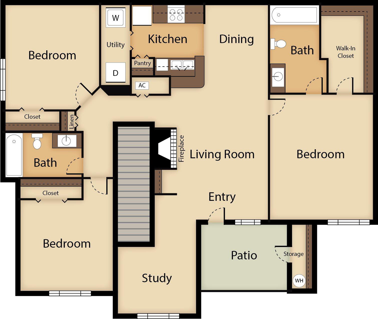 3 Bedroom with Study Floor Plan 6