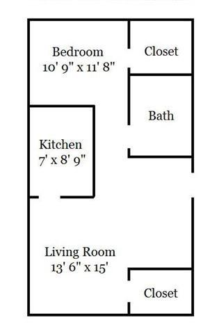 1 Bedroom Garden Floor Plan 1
