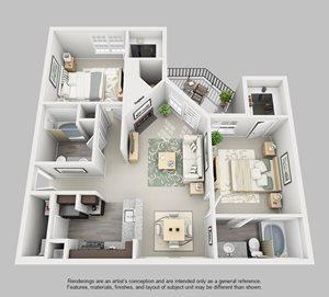 Perimeter Circle Apartment Homes - 2 Bedroom 2 Bath Apartment