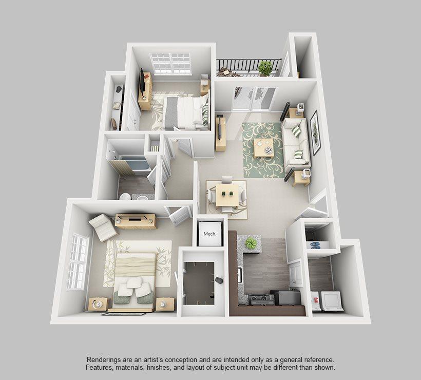 Perimeter 5550 Apartment Homes - 2 Bedroom 1 Bath Apartment