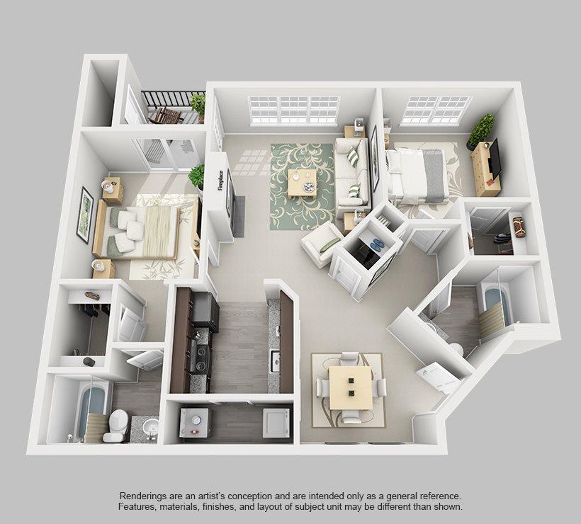 Perimeter 5550 Apartment Homes - 2 Bedroom 2 Bath Apartment