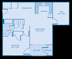 Oxford - 1 Bedroom w/ Flex Space!