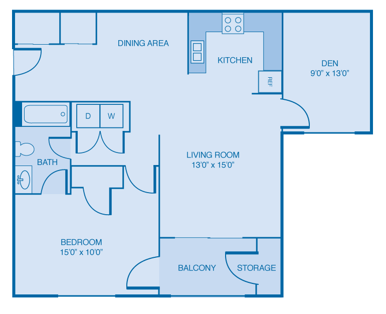1 Bedroom 1 Bathroom Floor Plan at Brooklyn Place Apartments, Evansville, IN