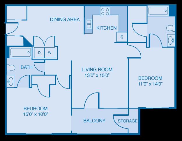 2 Bedroom 2 Bathroom Floor Plan at Brooklyn Place Apartments, Evansville, 47715