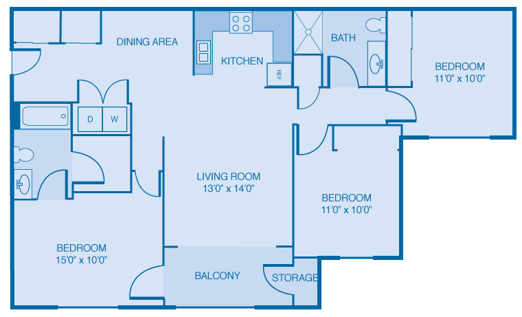 3 bedroom 2 bath Floor Plan at Brooklyn Place Apartments, Evansville, Indiana