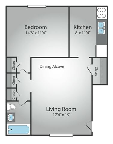 1 Bedroom - 1 Bath, Large
