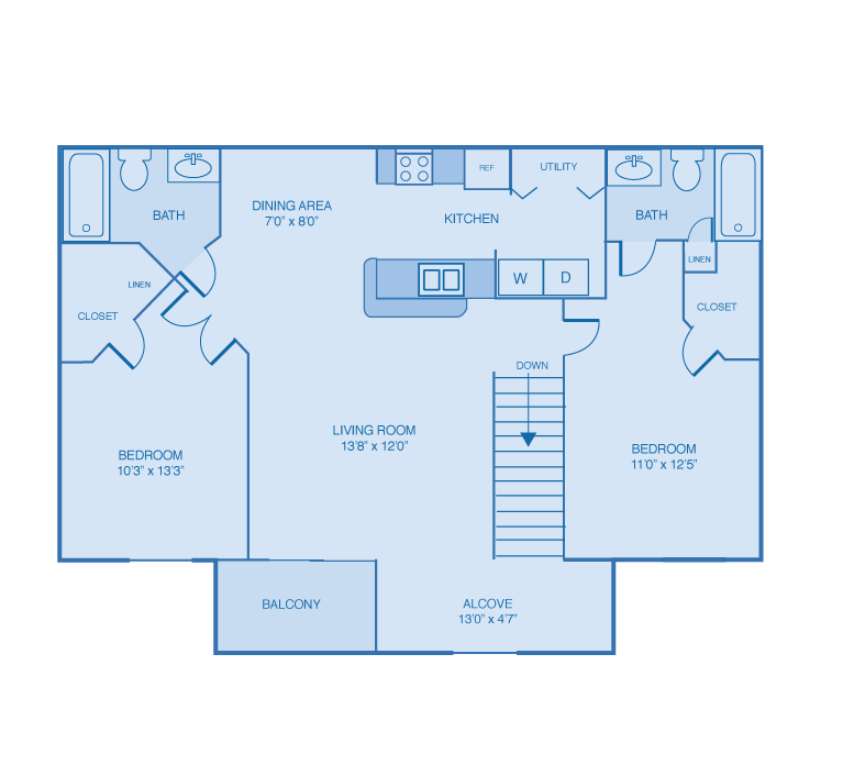Two Bedroom, Two Bath Floor Plan at Woodland Lakes Apartments, Michigan