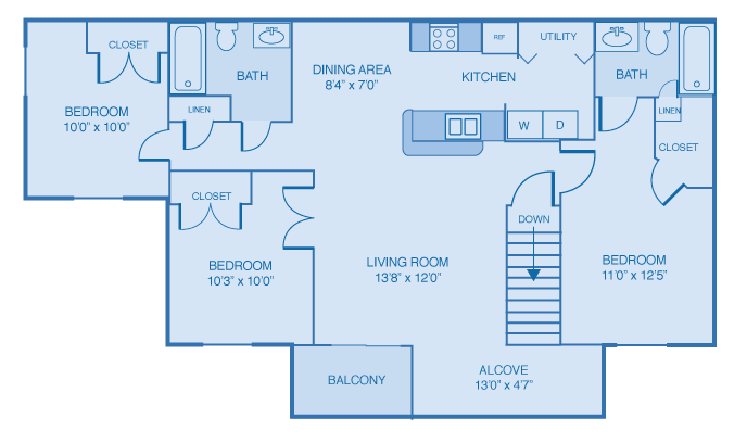 Three Bedroom, Two Bath Floor Plan at Woodland Lakes Apartments, Lansing, MI, 48911