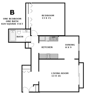 "Our one bedroom, one bath ""B"" floor plan offers a spacious 820 square feet. All of the rooms are spacious and the kitchen includes a dishwasher, fridge, garbage disposal, dish washer and gas stove."