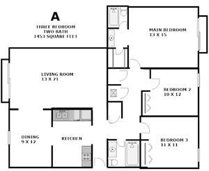 Our three bedroom, two bath apartment is a spacious 1453 square feet. All rooms are spacious and the kitchen includes a fridge, dishwasher, gas stove and garbage disposal.