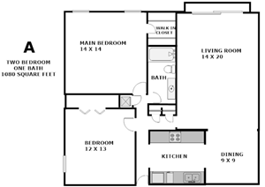 Our two bedroom, one bath apartment is a spacious 1080 square feet. All rooms are spacious and the kitchen includes a fridge, dishwasher, gas stove and garbage disposal.