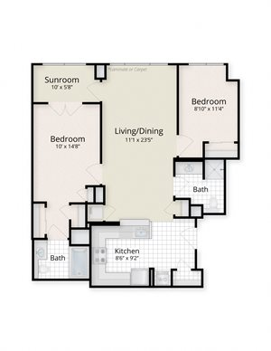 West End Residences Apartments Washington Dc Two Bedroom Sunroom Floor Plans