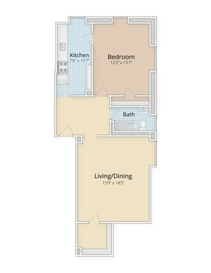 Cathedral Mansions Woodley Park, Washington DC apartments large one bedroom floor plan