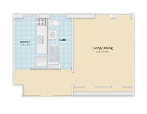 Cathedral Mansions Woodley Park, Washington DC apartments large studio floor plan