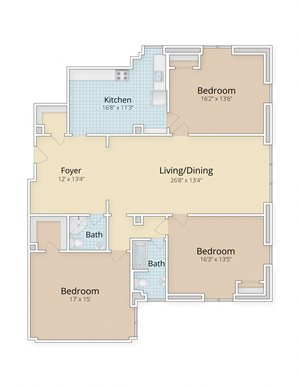 Cathedral Mansions Woodley Park, Washington DC three bedroom two bath floor plan