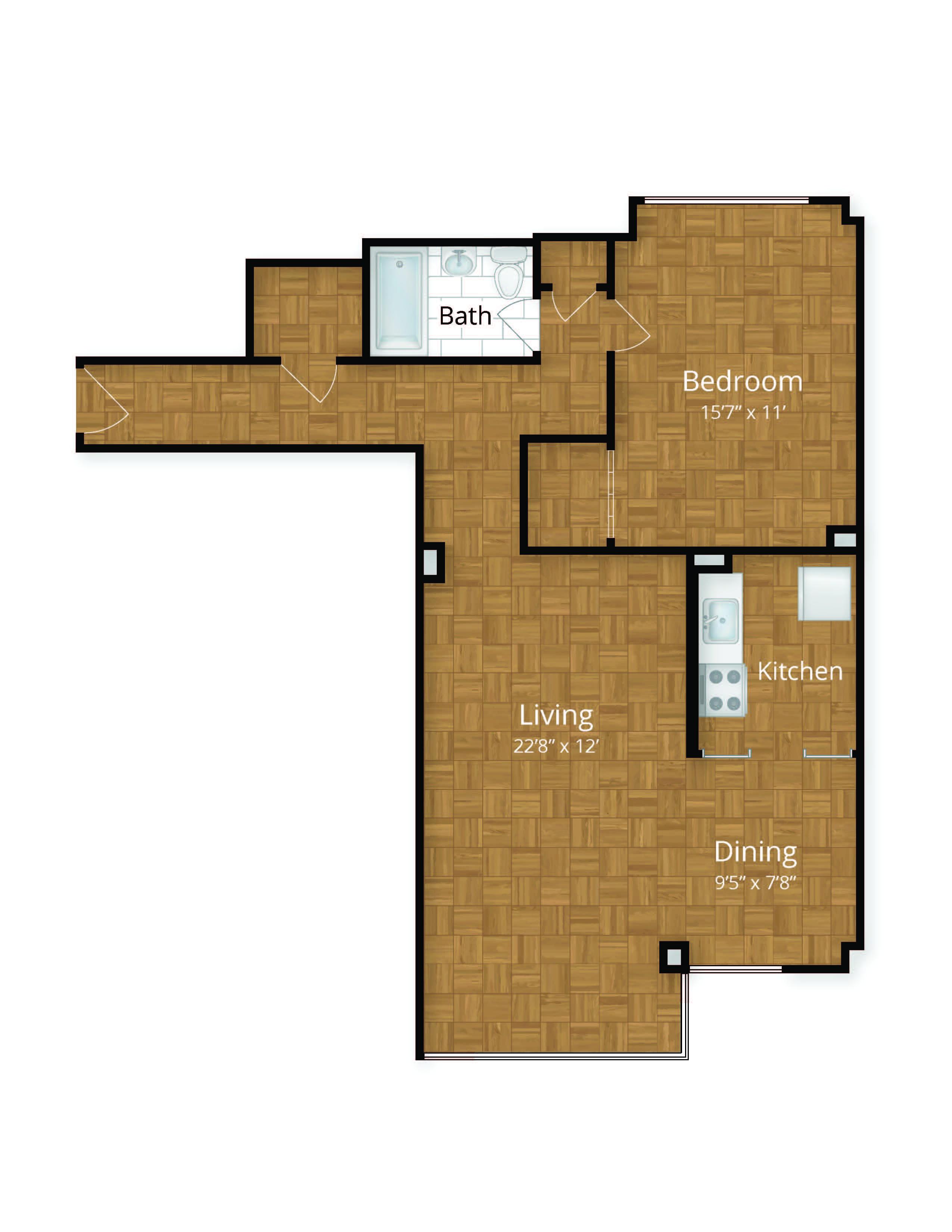 Potomac Park Apartments Large One Bedroom Floor Plan Foggy Bottom  Washington DC