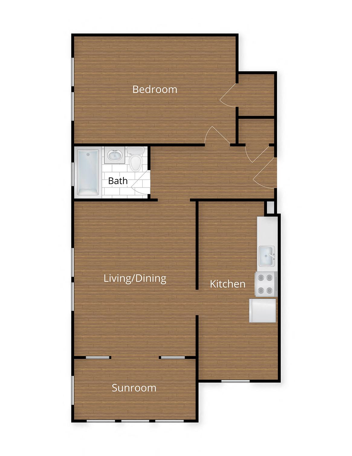 Paramount Apartments Washington DC One Bedroom Den Floor Plan
