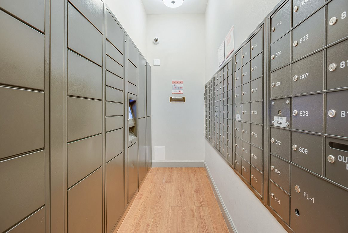 The Melwood Apartments mail room and package lockers in Adams Morgan, Washington DC