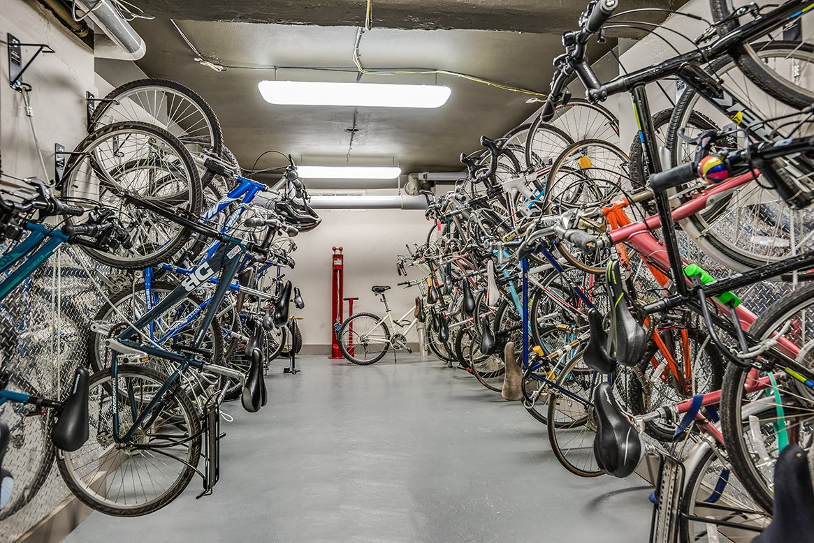 The Melwood Apartments bike room in Adams Morgan, Washington DC