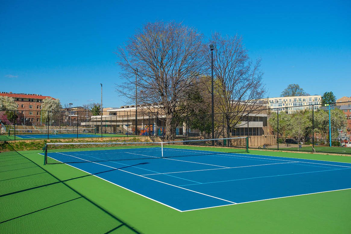 The Melwood Apartments neighborhood tennis courts in Adams Morgan, Washington DC