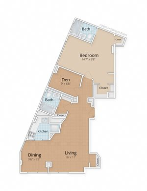 Diplomat Apartments Washington Dc One Bedroom Two Bath Den Floor Plan